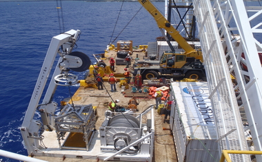 image of a remotely operated vehicle repairing seawater pipe