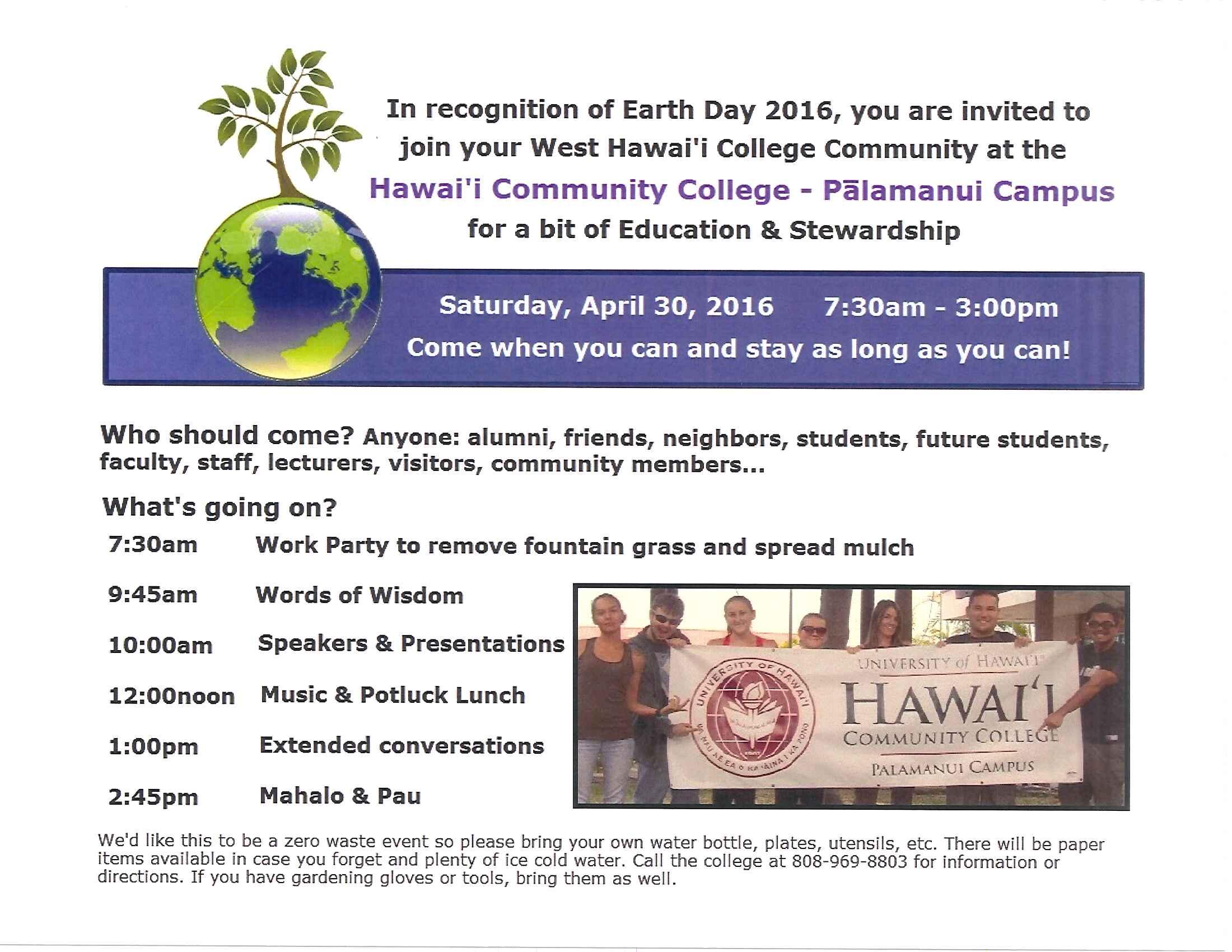 Palamanui Earth Day Flyer 2016