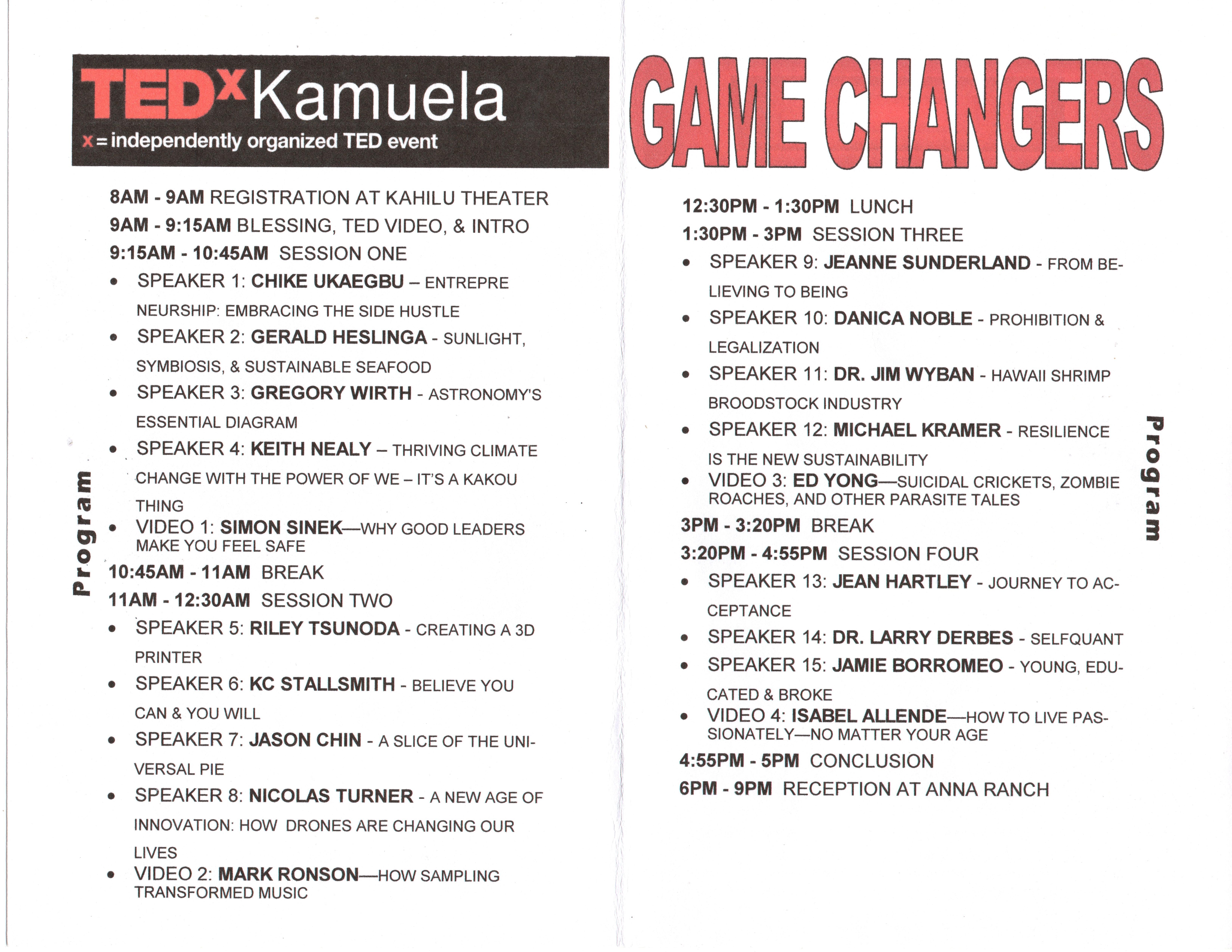 TedX Kamuela 2014 schedule